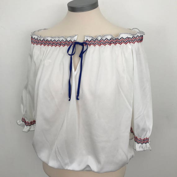 vintage bardot top off shoulder shirt white polyester jersey red blue trim UK 14 1950s style pin up bad girl blouse