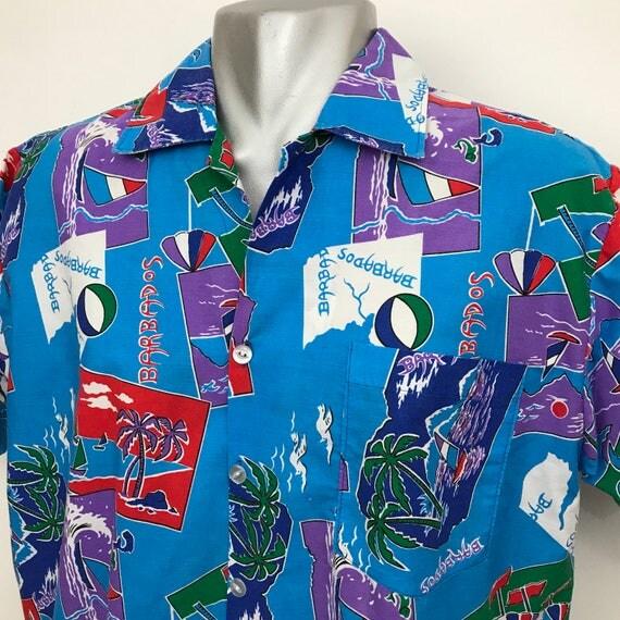 Hawaiian shirt vintage palm print novelty print beach theme cotton turquoise pattern size large summer holiday tropical Barbados souvenir