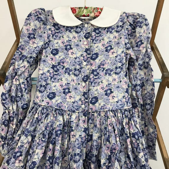 Vintage girls dress traditional style pansy floral print dress blue 8 10 year old childrenswear classic edwardian 40s 50s