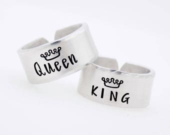 Custom Matching Rings, King and Queen, Adjustable Rings, Resizable Jewelry, Ring set, Set of 2 rings, Couples Set, Best friend Set, His her