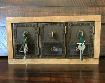 Antique Bronze 3-Door Yale Post Office Lock Box Early 1900s - with working keys - One of a kind!