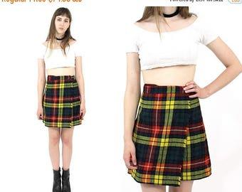 SUMMER SALE Vtg 60s SAKS Fifth Avenue Plaid Wool Pleated Mini Skirt Sz Xs/S