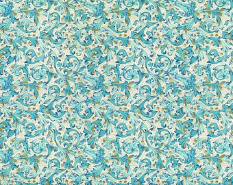 Florentina Navy - Florentine paper with gold print, Italy