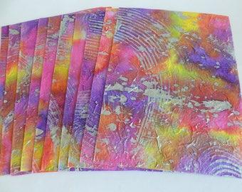 A4 batik swirl handmade paper/scrapbooking/mixed media/journalling/die cutting/card making