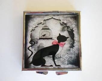 Pill box - Pill container - Mint case - Cat pill box - Vintage pill box - Resin pill box - Cat - Vintage