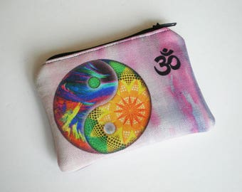 Coin purse, Small zipper pouch, Yin Yang, Om, Card wallet, Yin Yang coin purse, Gift idea