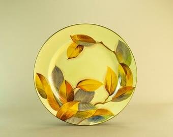 Art Deco Large Round Serving Platter Painted Leaf Floral Vintage English 1930s Pottery Ceramic Grays