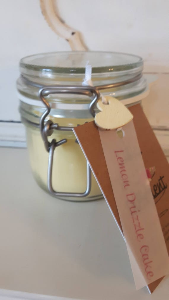 Lemon drizzle cake candle. Kilner style jar. Beautiful soy wax candle scented with lemon drizzle cake.  Vegan candles.  Eco soy. Wales UK
