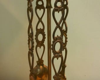 Brass Welsh Love Spoons on hanging stand companion set vintage