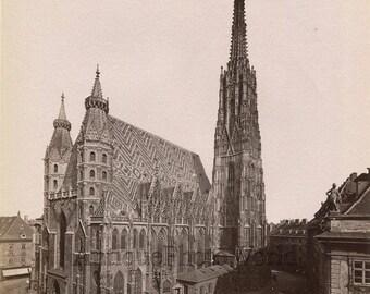 Vienna Austria Stephanskirch cathedral antique albumen photo