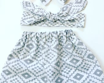 Girls Summer Skirt Set, Girls Grey and White Summer Skirt Set,  Girls Skirt Outfit, Girls Ready To Ship Skirt Set, Infant Skirt Set,