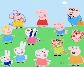Peppa pig and friends 12 patch group set sew on / iron on patch/ badge