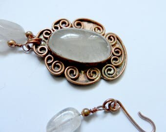 rutilated quartz gemstone pendant  necklace w/ copper link and rutilated quartz beads chain.