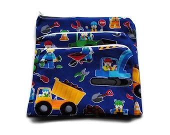 Reusable Sandwich Snack Bags set of 3 Zipper Construction Trucks Blue Yellow Red Green