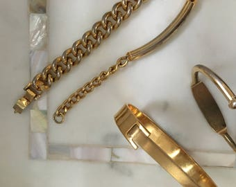 4 Vintage Brasstone Gold  Bracelet ID, Structured Chain Layering Set