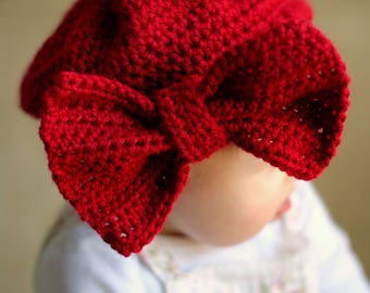 Big Bow Beret for Baby. Really Red or Wine Red Color Choice