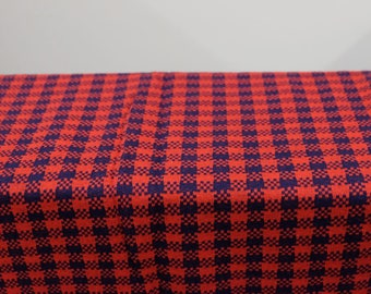 "1970's Vintage Checkered Crayon Blue Cherry Red Jersey T-Shirt Cotton Polyester Knit Fabric Very 70s material  3 yards by 64"" wide"