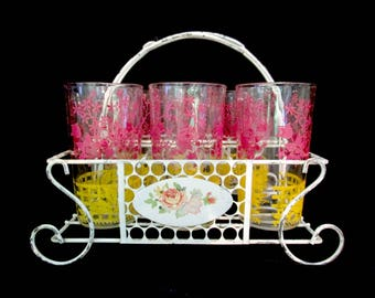 Mid Century Glassware with Caddy, Farmhouse Tumblers with Wire Caddy, Cottage Kitchen, Drinking Glasses with Caddy