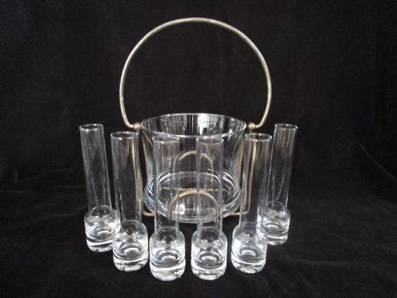 Vodka Chiller with Shot Glasses, Mid Century Ice Bucket with Bar Glasses, Vodka Shots, Liquor Chilling Set