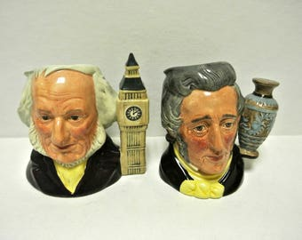 Vintage 1980s Collector's Club Royal Doulton Set of Commemorative Father & Son Toby Mugs Jugs REDUCED