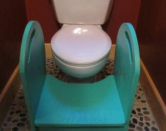 Deluxe Wood Potty Step Stool (sea glass)