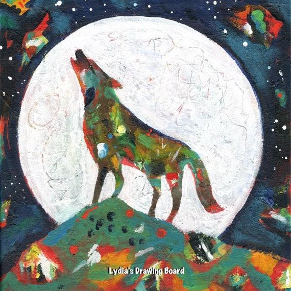 Howling Wolf, Wolf Art, Wolf Art Print, Spirit Animal, Animal Art, Animal Art Print, Wolf, Animal, Nature, Nature Art, Moon, Moon Art Print