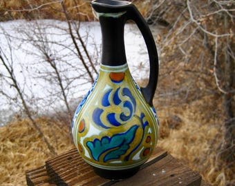 Gouda Pottery Pitcher, Vase,Ewer, Nanda Design, Antique European Art Pottery, Circa 1923, Hand Painted Multi-Colored