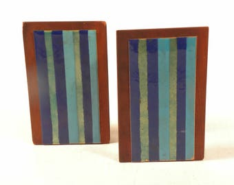 Hand Painted Vintage Mid Century Tile Book Ends