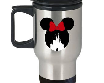 Magic Castle Mouse Travel Mug Gift Red Bow Love Fan Fanatic Magical Coffee Cup