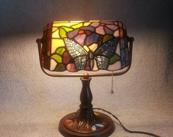 Bankers Lamp - Stained Glass Shade - Butterfly and Floral Theme