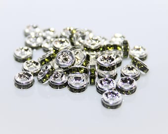 Pearl rhinestone Rondels silvery-green peridot 5mm / set of 10