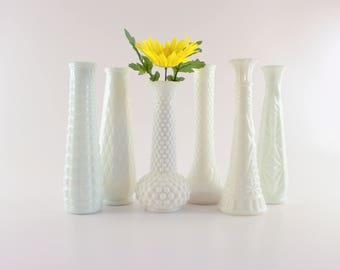 Milk Glass Vase Collection - Set of 6