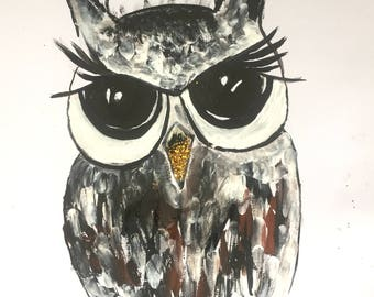 "Owl Painting A4 Size Birds Art For Sale Buy Art on Paper Beautiful Gift Ideas Animal Portraits UK Art Acrylic Painting Original 8""x12"""