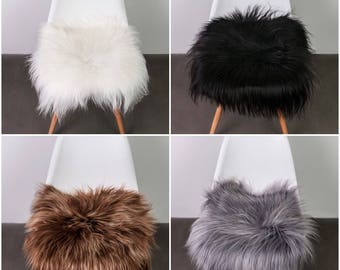 Luxurious Genuine Icelandic Sheepskin Long Hair/Wool Chair Sofa Cover Seat Pad in White,Grey, Rusty Brown or Black Colour