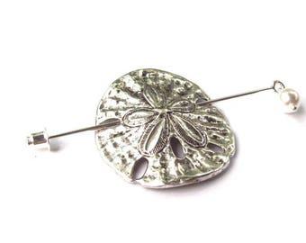 Sand Dollar Shawl Pin, Silver Lapel Pin, Hat Pin, silver shawl pin, tropical, ocean, oxidized, fashion, stick pin, scarf pin, swarovski