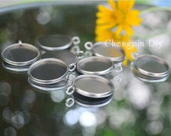 Round Bezel Cups - Stainless Steel Bezel Pendant Blanks - Recessed Bezel Cabochon Setting - Pendant Trays - 20PCS/100pcs - Attract Magnets