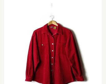 ON SALE Vintage Vivid Red Corduroy Long Sleeve Blouse /Shirt from 90's*