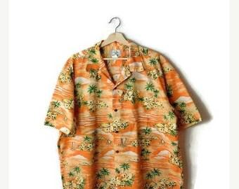ON SALE Vintage Men's Orange x Botanical Hawaiian shirt from 90's*