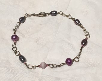 Wire wrapped pearl and glass bead bracelet