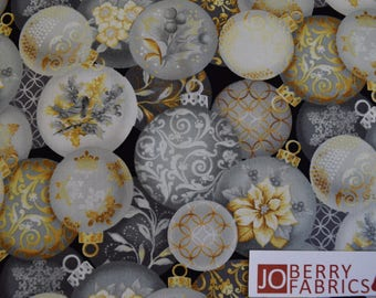 Christmas Ornaments from the Holiday Trimmings Collection by Blank Quilting.  Quilt or Craft Fabric, Fabric by the Yard.