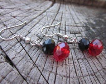 Black & Red Gothic Crystal Earrings-Gothic / Earrings