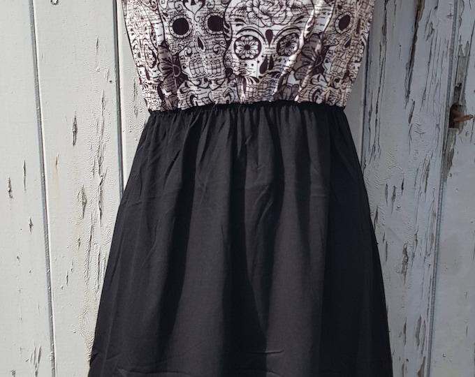 Monochrome Candy Skull Dress - Size 10 12 14 - Skater Tattoo Rockabilly Black