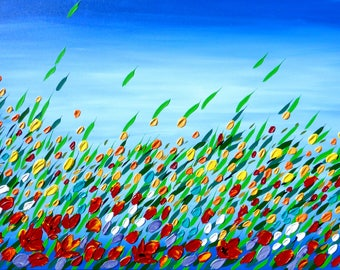 """original paintings, original painting, on canvas, textured, with palette knife, field, of, poppies, flowers, texture, wildflowers, 36""""x24"""""""