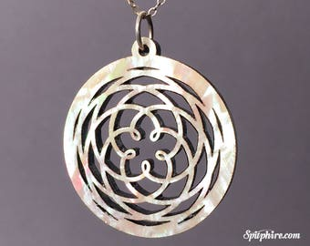 Venus Cycle Pendant Necklace - Mother of Pearl - Large - Laser Cut
