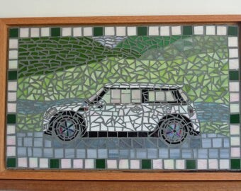Mini Cooper Stained Glass Mosaic