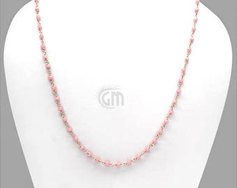 "45% OFF Rose Chalcedony Necklace Chain, 3-3.5mm Rose Gold Plated Wire Wrapped Beads Necklace Chain 18"" Long (RPRC-90005)"