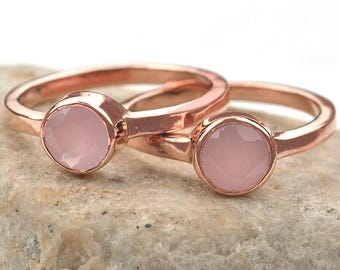 Rose chalcedony single stone ring, 6mm round gemstone ring, Rose gold plated solitaire ring GemMartUSA (CPRC-12007)