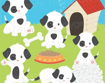 80% OFF SALE puppy dog clipart commercial use, vector graphics, digital clip art, digital images  - CL529