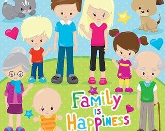 80% OFF SALE Happy family clipart commercial use, grandparents, vector graphics, digital clip art, digital images - CL853