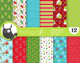 80% 0FF SALE Christmas owls  digital paper, commercial use, scrapbook papers, background chevron, Christmas, birds - PS898